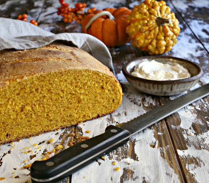 Savory crusty pumpkin bread with a light egg bread texture.