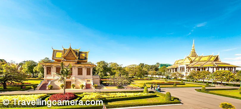 The buildings are all stunning examples of traditional Khmer Architecture. And the color scheme is very typical Khmer too. Even in the temples, you find various shades of yellow, orange, and red. And the similarities with the temples doesn't end here. Just like one is expected to do in temples, in the Royal Palace too, you are supposed to dress conservatively. Both men and women are supposed to be dressed in clothes that cover their knees and do not show too much skin.