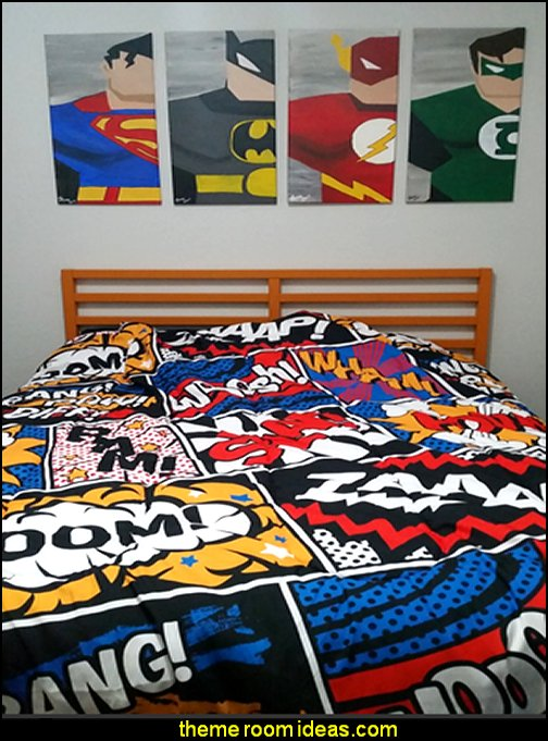 Superheros art Superheros bedding Modern Comic Book Superhero