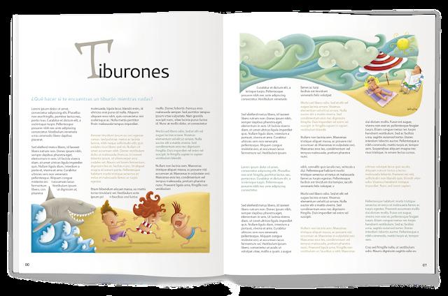"""ilustración-tiburones, ana sáez del arco, illustation, sharks, magazine"""