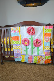 Ruffle Flower Rag Quilt for a Toddler Bed or Crib Quilt in Hot Pink, Orange, Yellow, Purple, and Lime Green