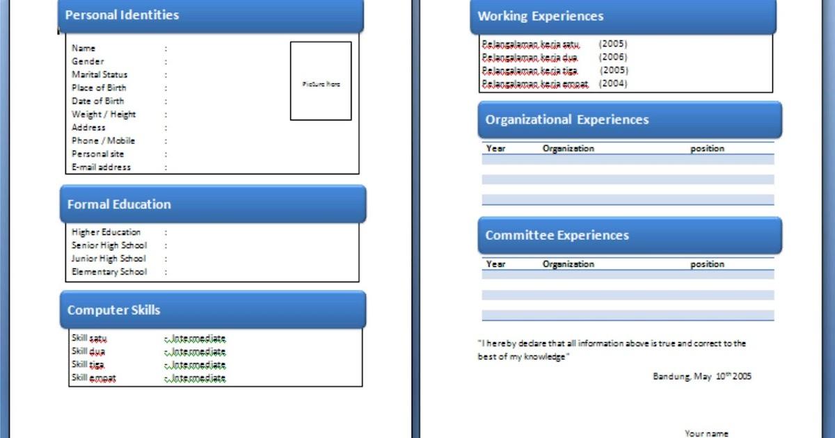 contoh cv masuk organisasi