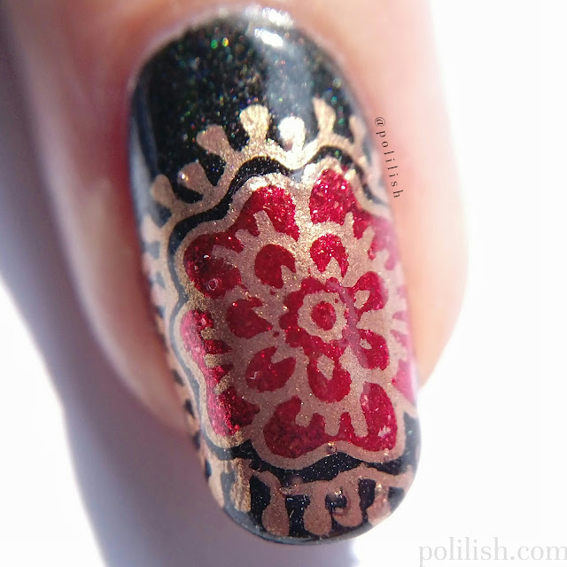 Macro of floral reverse stamped nail art, with A-England Gloriana and Bridal Veil
