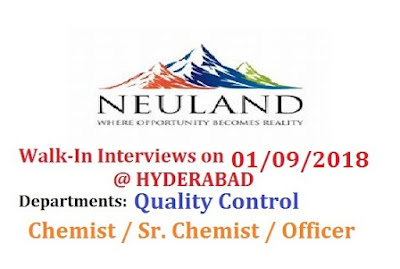 Neuland Laboratories Limited Walk In Interview at 1 September