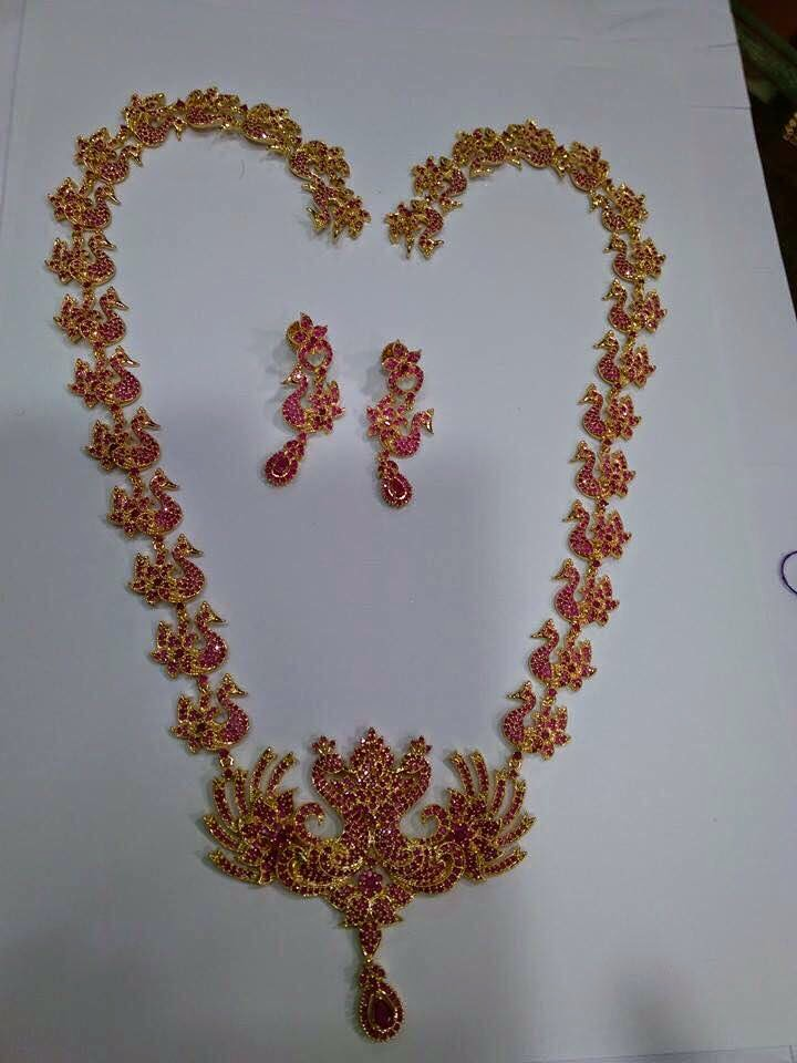 Jewellery Designs Ruby Peacock Haram Set