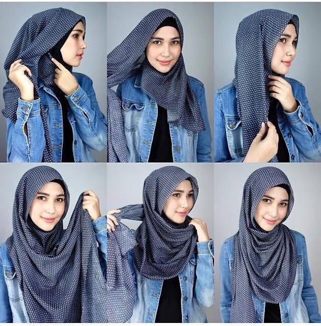 cara pakai hijab pashmina panjang