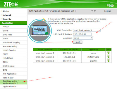 Port Forwarding (Application List)