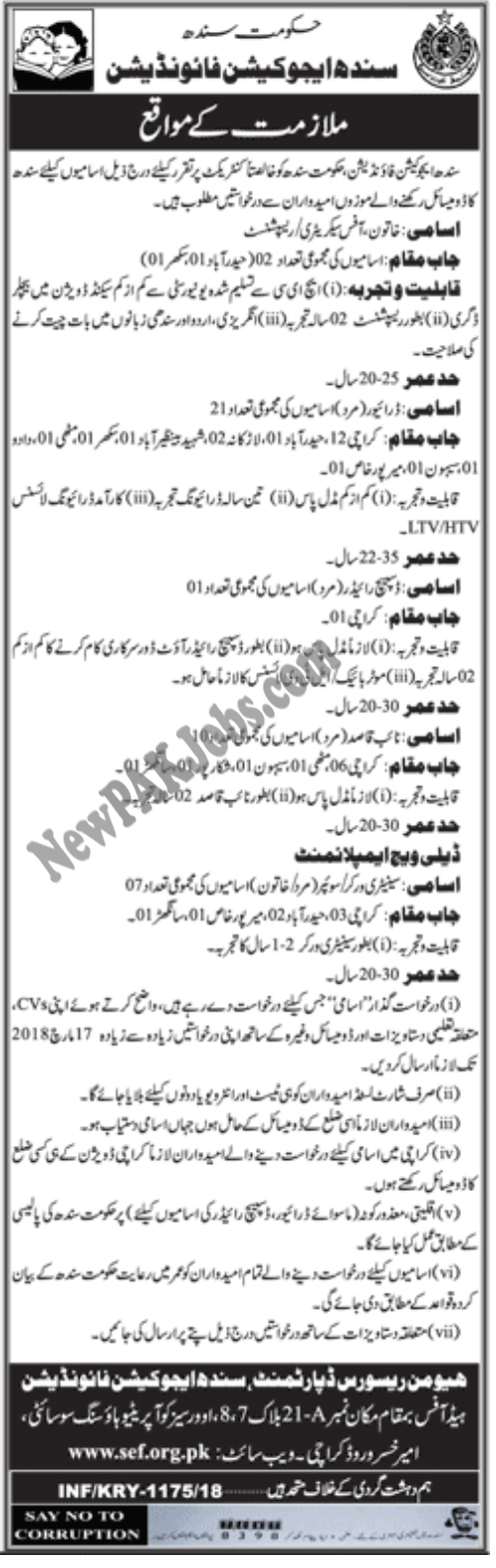 Sindh Education Foundation, 40+ Latest 2018 Jobs