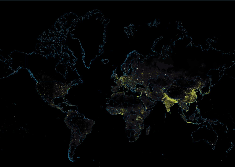 Global population density heatmap
