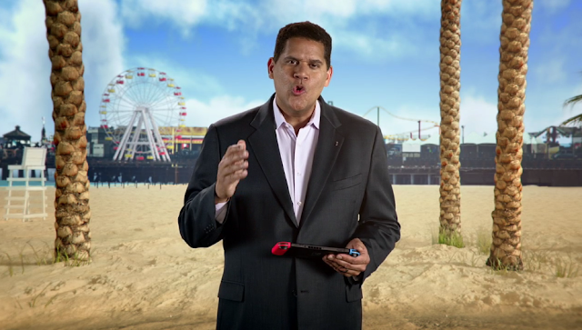 Reggie Fils-Aimé beach Nintendo Switch E3 2017