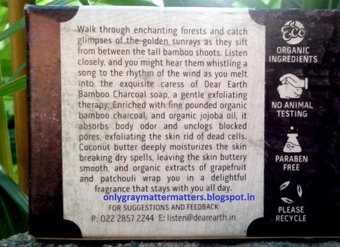 Dear Earth Bamboo Charcoal Soap Benefits