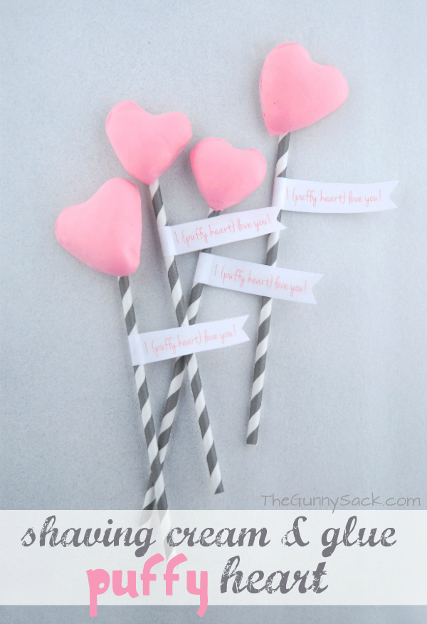 Pink Puffy Heart Striped Paper Straws