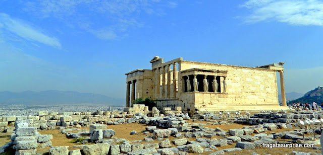 Templo das Cariátides (Erechteion), a Acrópole de Atenas