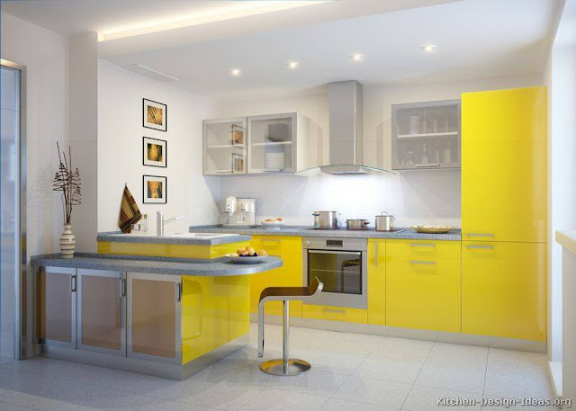 Elegant and Awesome European Yellow Kitchen Cabinets Design Ideas 2016