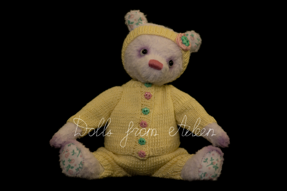 ooak artist teddy bear sitting wearing sporty outfit