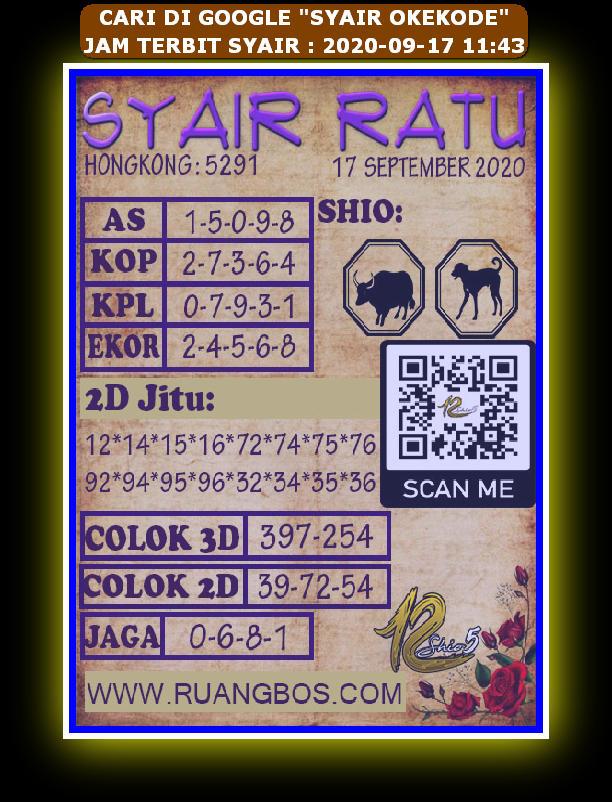 Kode syair Hongkong Kamis 17 September 2020 282