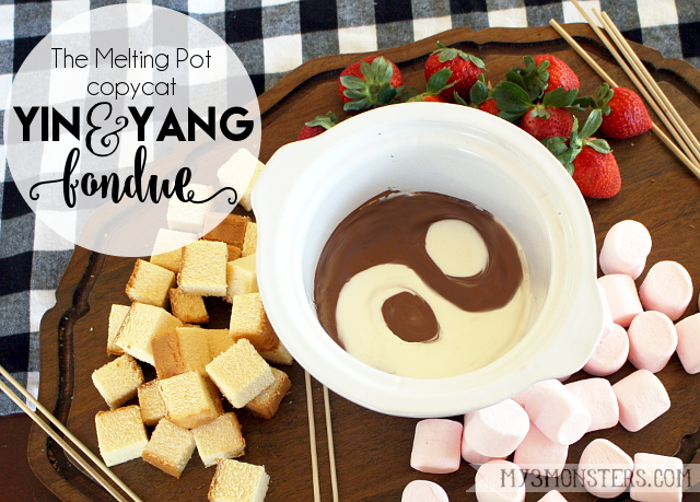 Yin and Yang Chocolate Fondue -- The Melting Pot copycat recipe at my3monsters.com