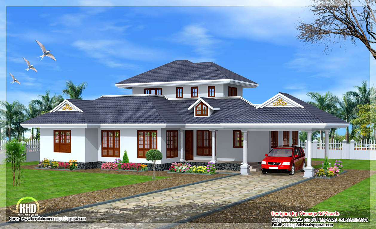 Beautiful kerala style single floor villa home appliance for Single floor 4 bedroom house plans kerala