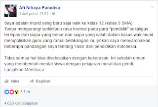 WOW... Curhatan Murid SMA Soal Hukuman Fisik Oleh Oknum Guru Bikin Ribuan Netizen Kagum