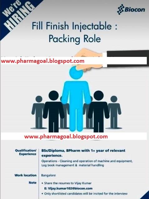 Biocon Limited - Urgently Hiring for Production  - PHARMA GOAL