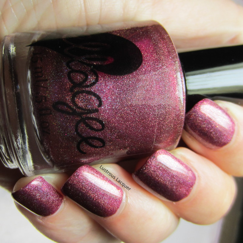 Berry colored holographic nail polish
