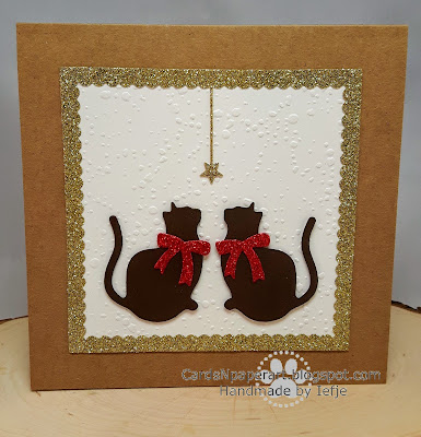 Handmade Christmas card with Xcut mixed cats die cuts