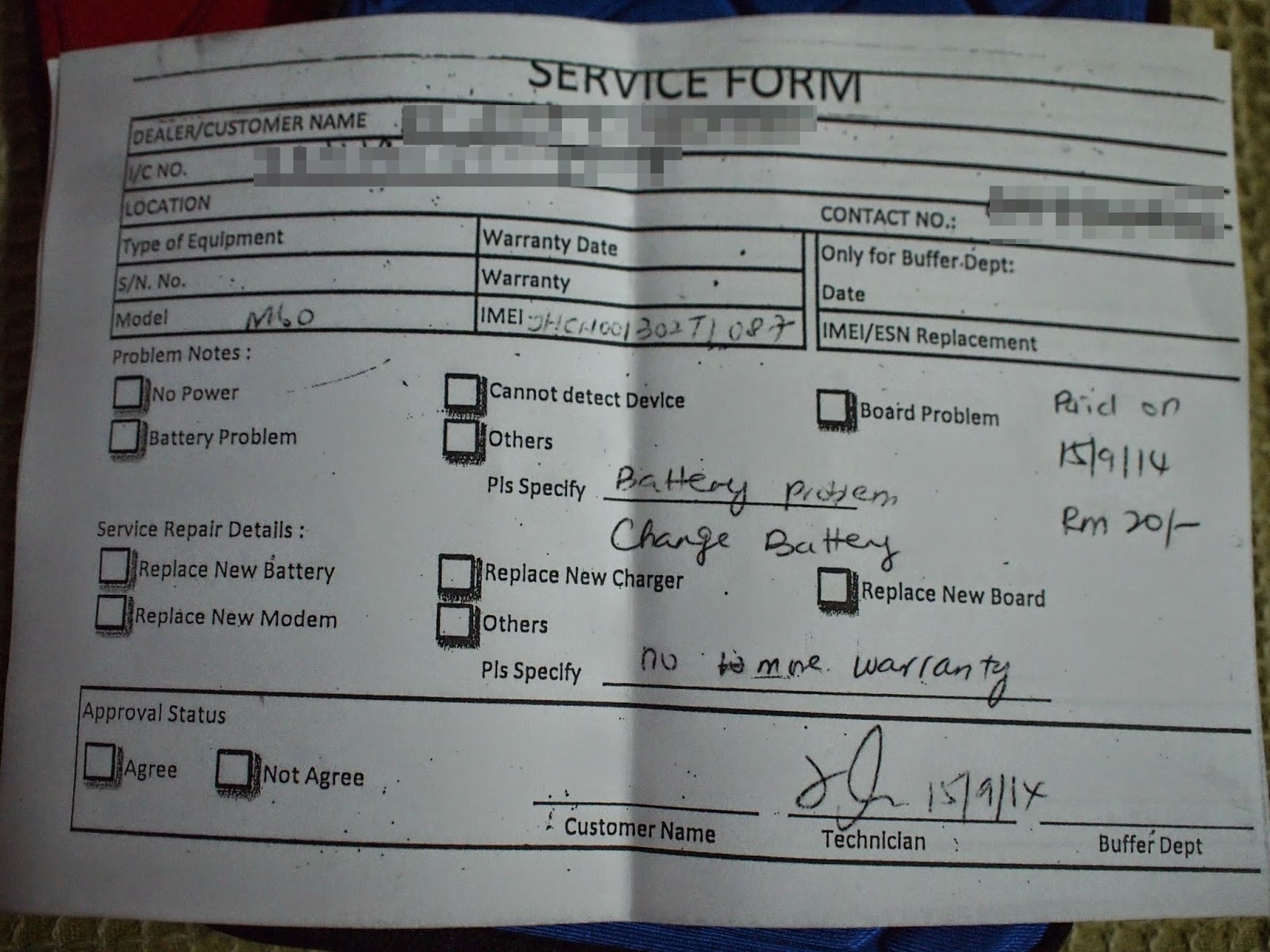 aigoPad M60 - Service Form Ten Ten Telecommunicatons Sdn. Bhd.