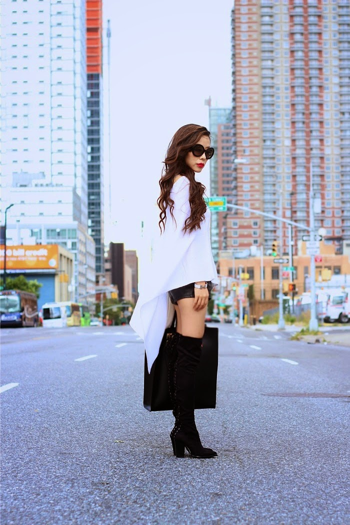Minnie Rose Cashmere Ruana Poncho, SteveMadden Tocean boots, over the knee boots, peace love shea, shea marie, fall fashion, sophie hulme tote, chanel necklace,prada sunglasses, nastygal shorts, shallwesasa,streetstyle,nyc,musthaveforfall