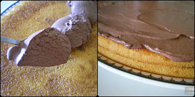 Tarta de nata y mousse de chocolate ; Extendido de la mousse de chocolate