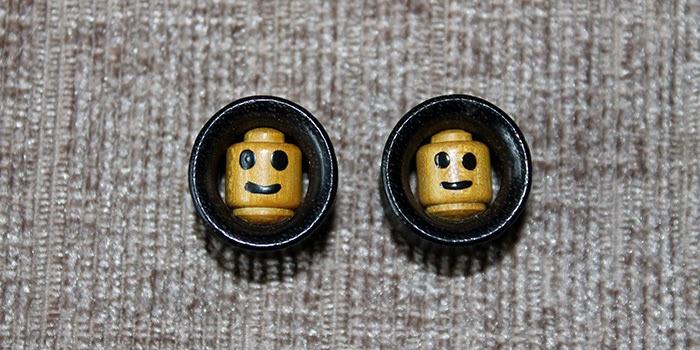 Wooden Lego head plugs