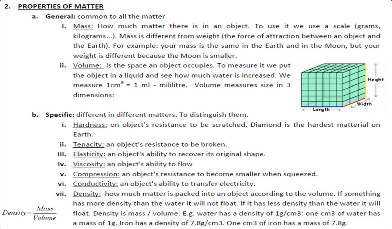Natural Science 5 Grade 2 Matter Properties Of Matter