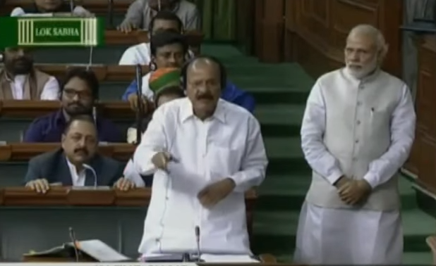 A new video of PM Modi in Parliament, which shows him standing next to Venkiah Naidu, has gone viral.  It was shot on March 9 and was uploaded to YouTube on March 11. In the last 24 hours a nearly 555,000 people have viewed it.