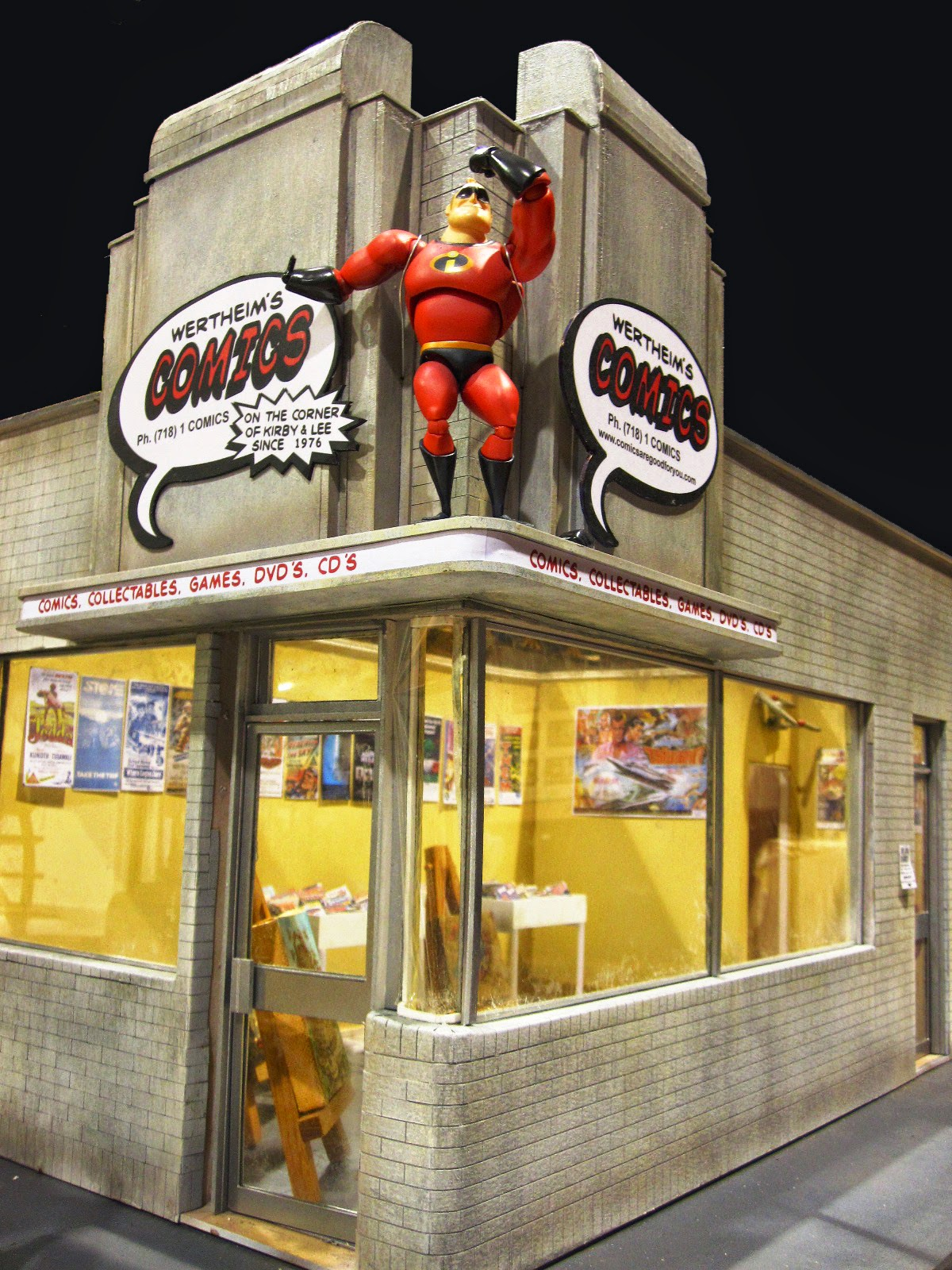 Modern miniature comic book store, corner view.