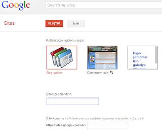 Google Sites Oluştur