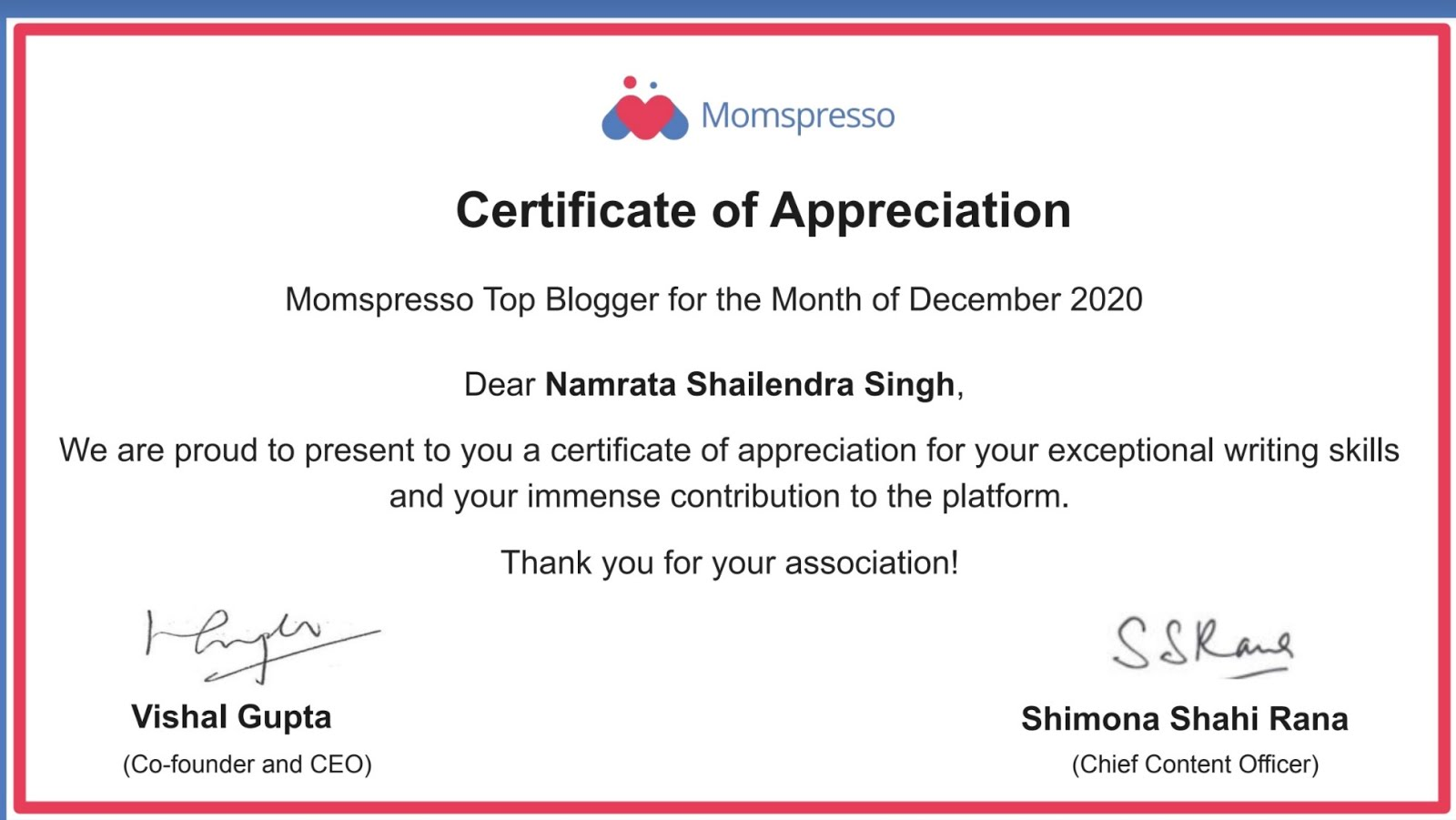 Certificate of Appreciation - Dec 2020