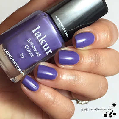 Swatch of purple reign nail polish by Lakur Londontown