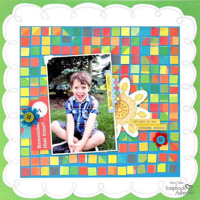 Colorful DIY Mosaic Background Kid Scrapbook Layout