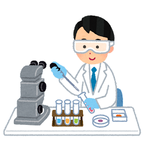 ゴーグルを付けて実験をする人のイラスト(男性)
