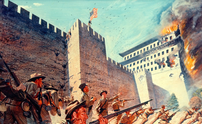 American troops scale the walls of Peking
