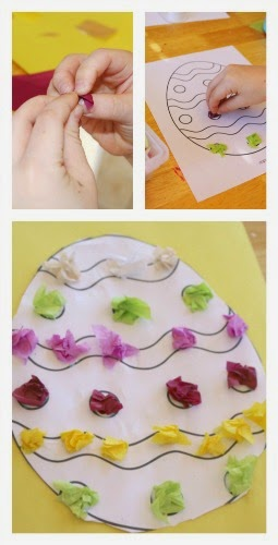 egg craft using tissue paper