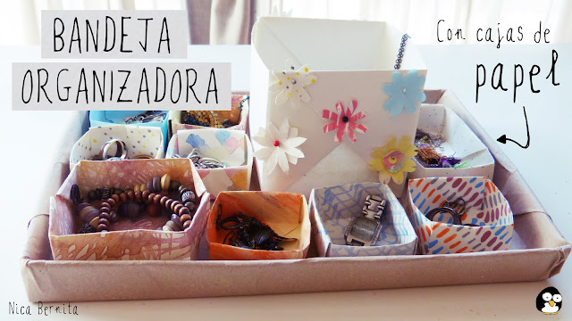 bandeja organizadora de escritorio o cajón con cajas de papel. Nica Bernita