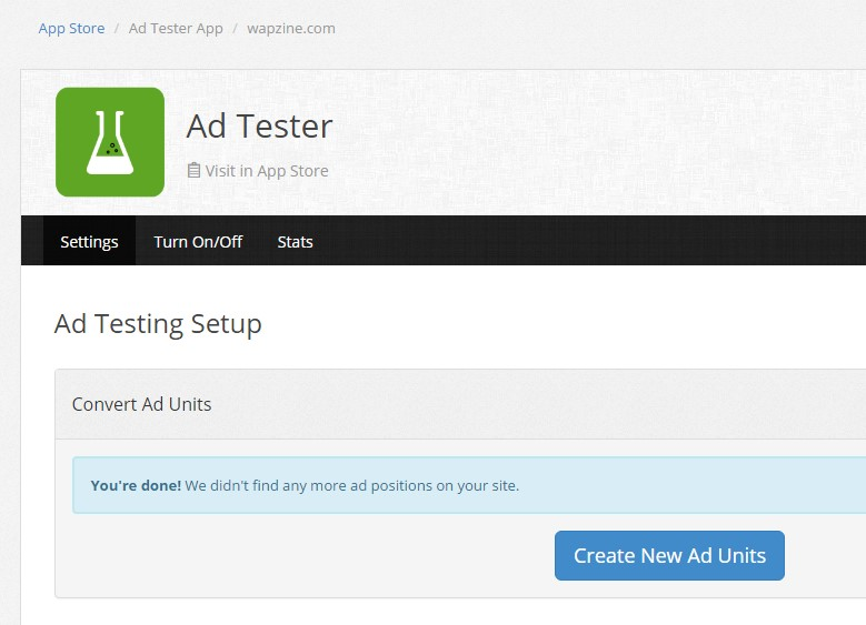 Create New Ad Units