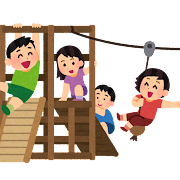 アスレチックで遊ぶ子供たちのイラスト