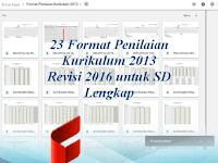 23 Format Penilaian Kurikulum 2013 Revisi 2016 untuk SD Lengkap