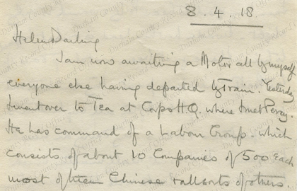 Extract from a letter by Hubert Morant, 8 April 1918 (D/DLI 7/1230/113)