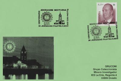 Tarjeta del centenario de la Adoración Nocturna en Gijón