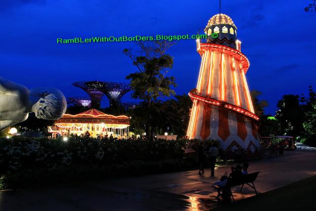 Children slide and merry-go-around, Christmas Wonderland, Gardens by the Bay, Singapore