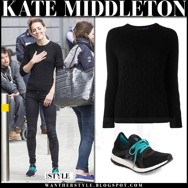Kate Middleton in black cable knit ralph laurent sweater, skinny jeans and black adidas pure boost sneakers what she wore