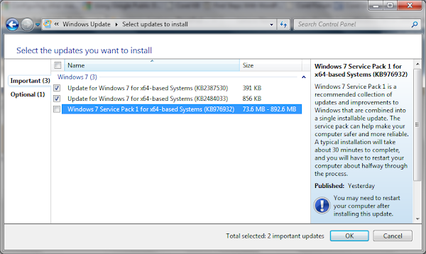 The Service Pack 1 Is Anywhere Between 73 6 Mb To 892 6 Mb Depending On What Windows Updates You Already Have Installed On Your Computer