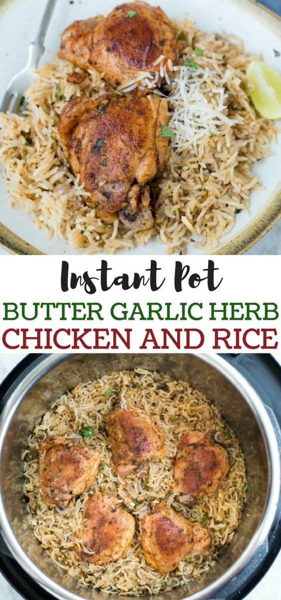 Easy and delicious Garlic Herb Chicken and rice made in the Instant Pot in 20 minutes. Healthy family-friendly dinner you can make on any day.